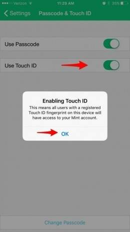enable touch id to lock apps on iPhone