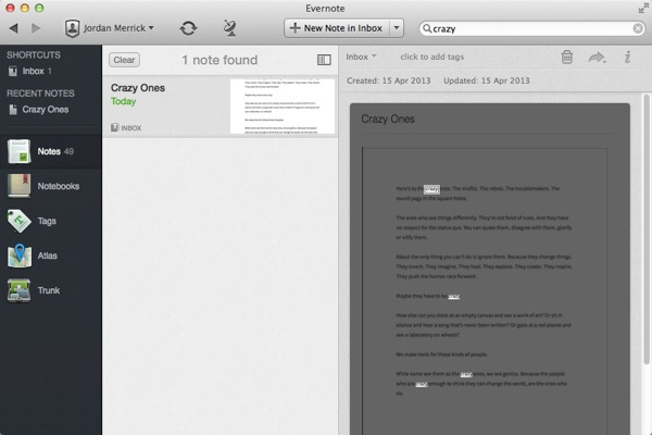 use evernote as ocr tool
