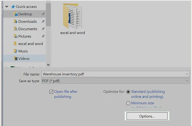 excel to pdf with ms