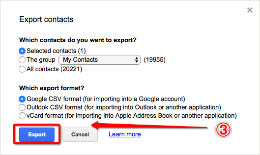 Export Gmail Contacts from Original Email Account Step 3