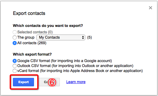 Export Google Contacts with Google App Four