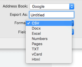 export contacts to Excel