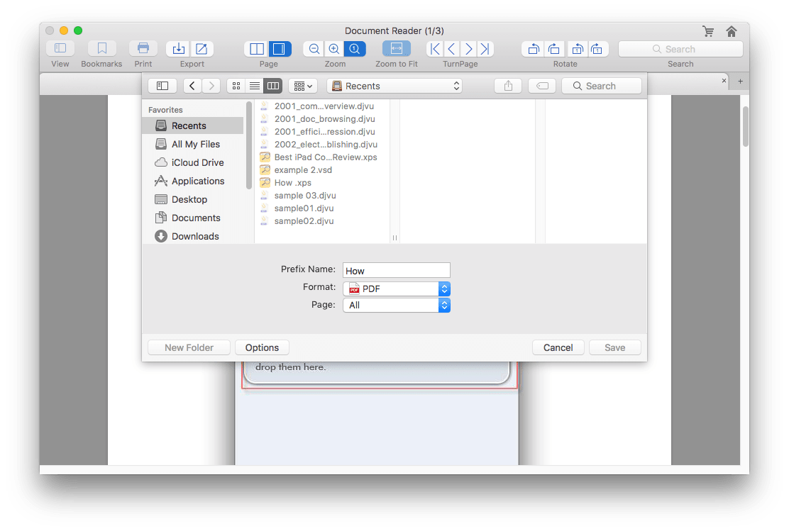export xps as pdf on mac