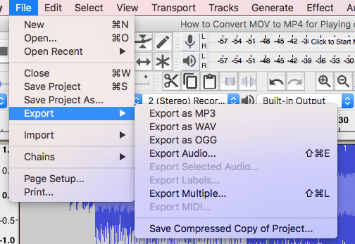 How to Extract Audio from Video via Audacity-3