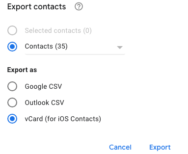 Export as section