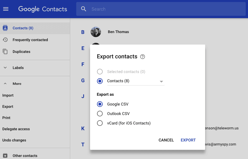 export contacts from google