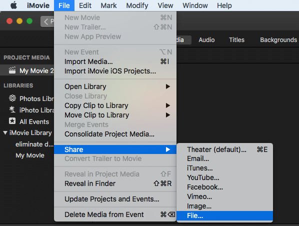 export imovie to file
