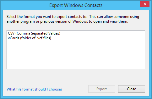 export Windows Contacts to CSV
