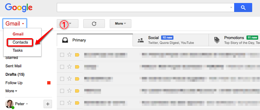 Export Gmail Contacts from Original Email Account Step 1