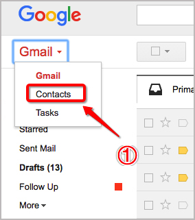 How to Delete Contacts from Gmail Contacts List Step One