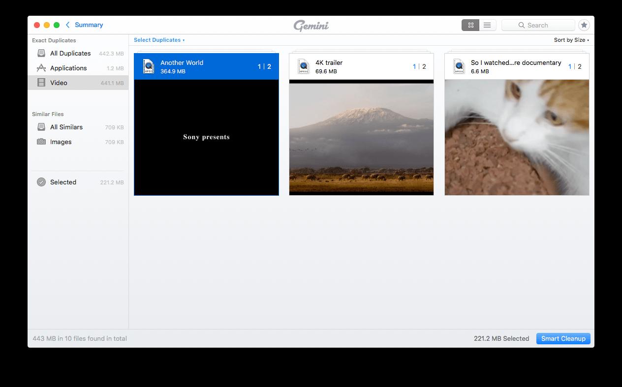 use Gemini 2 to find duplicate video files on Mac