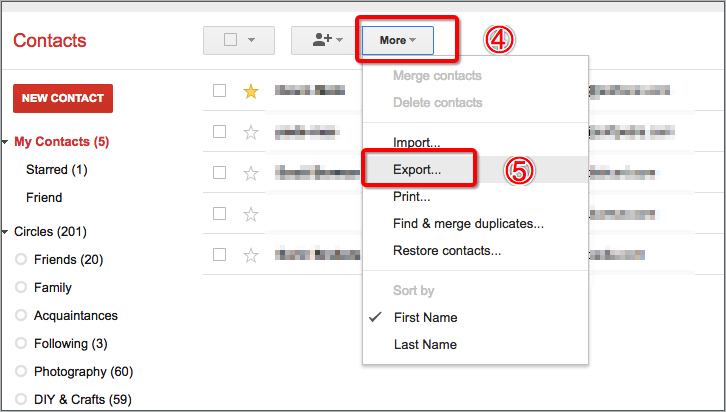Export Google Contacts with Google App Three