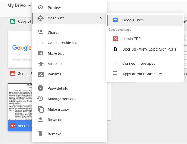 use google docs to convert scanned pdf to text on mac