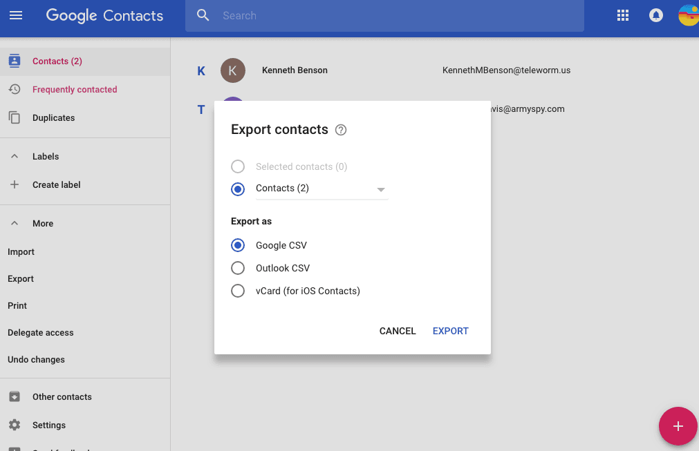google contacts export to vcard