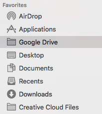 cloud storage drive in Finder