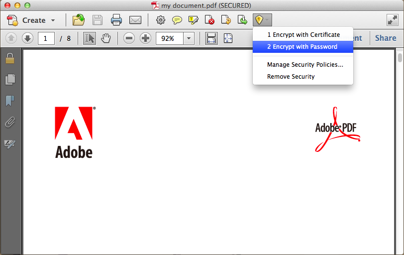 how to remove security from PDF Adobe