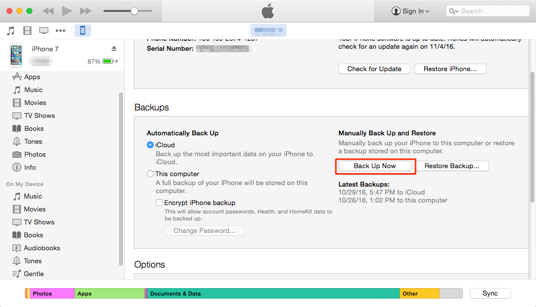 How to Backup iPhone Contacts to iTunes?