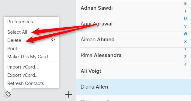 delete iCloud.com contacts