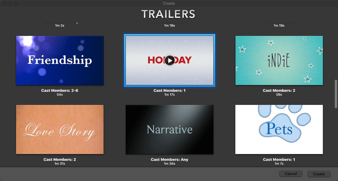imovie trailer christmas theme