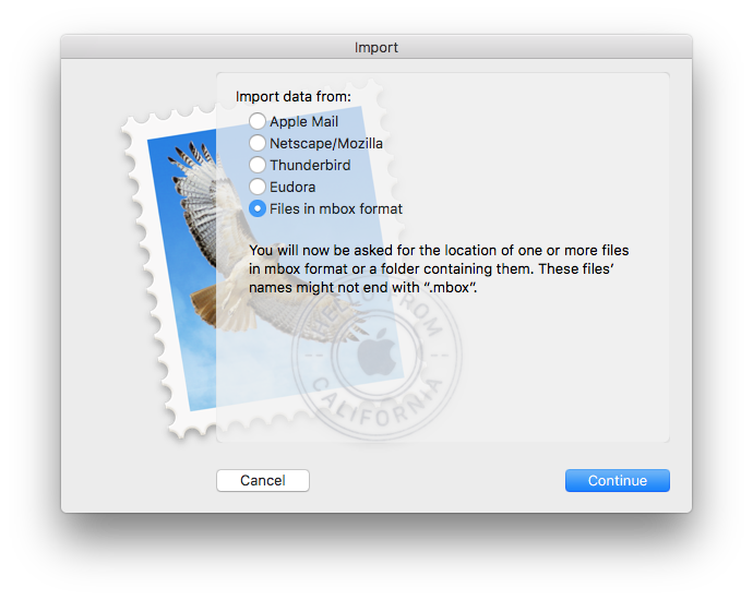 import data to Apple Mail on Mac