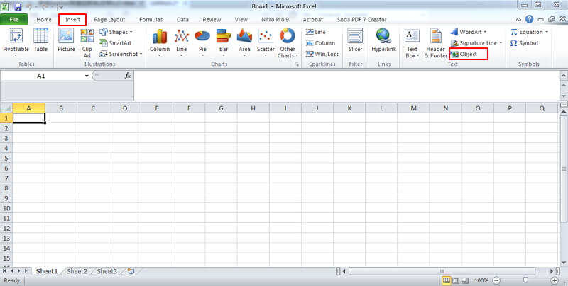 insert pdf into excel as object