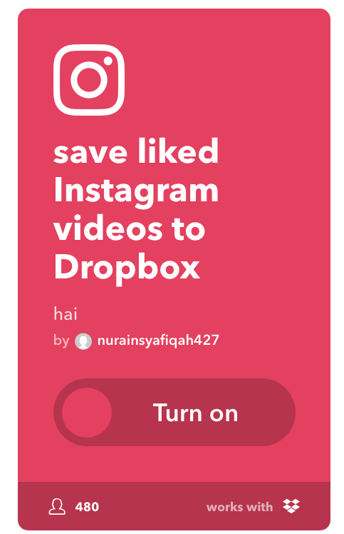 save liked Instagram videos to Dropbox