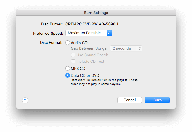 itunes burning settings