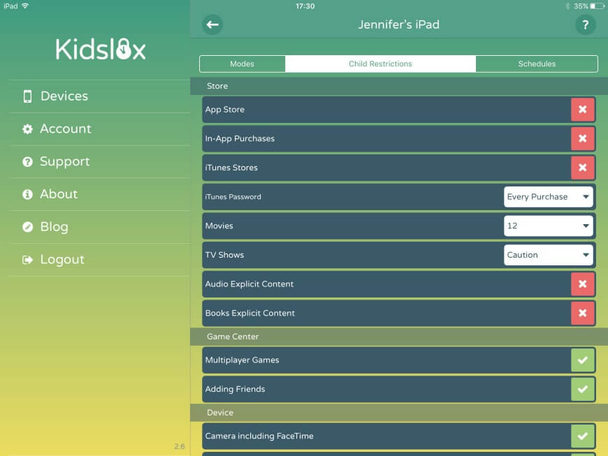 Kidslox parental control app for iPad and iPhone