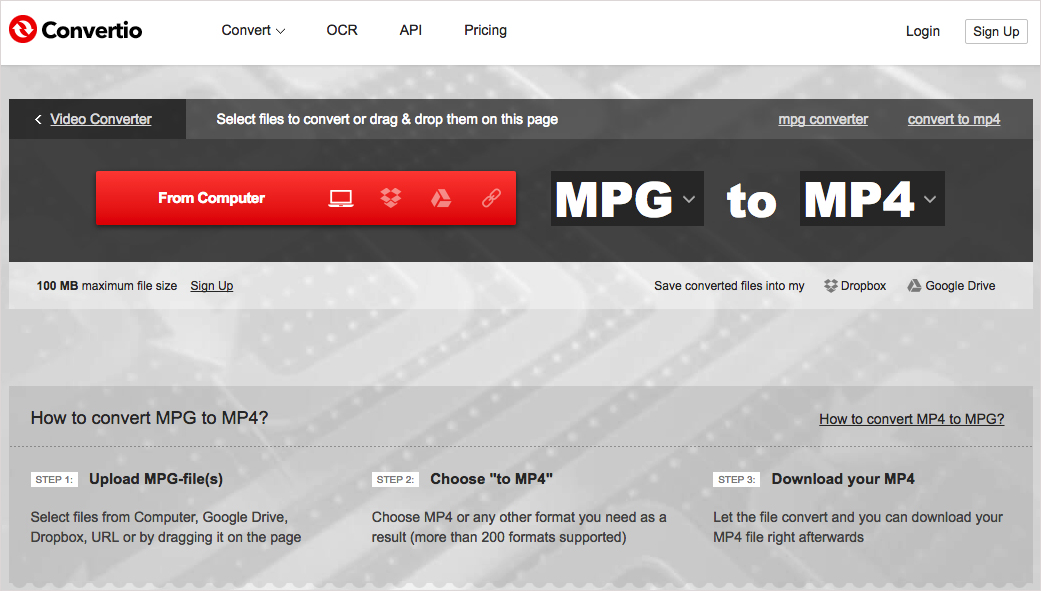 Online Solution to convert MPG to MP4 Step 2