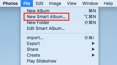 the File menu provides New Smart Album and other options