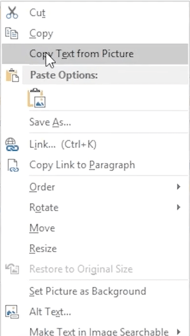 extract text from image onenote 02
