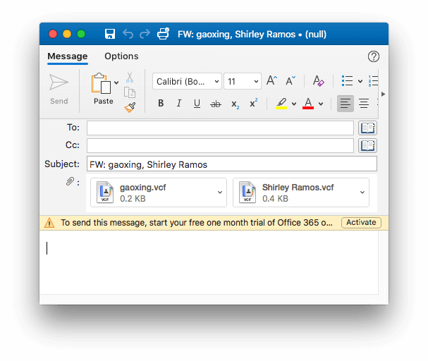 Outlook contacts exported as vCards