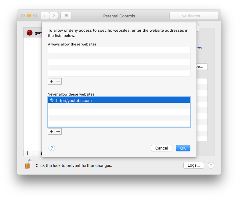 mac parental control