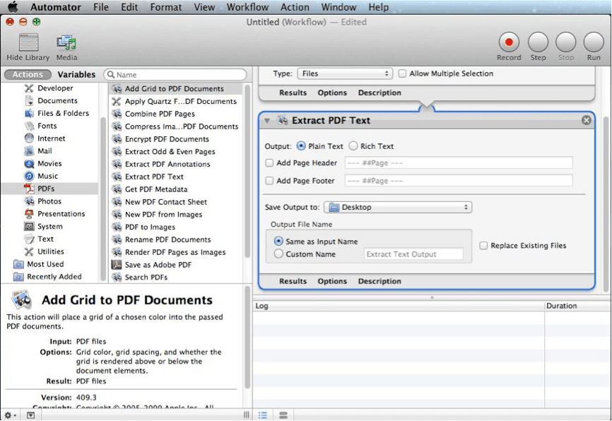 change pdf to word with mac automator
