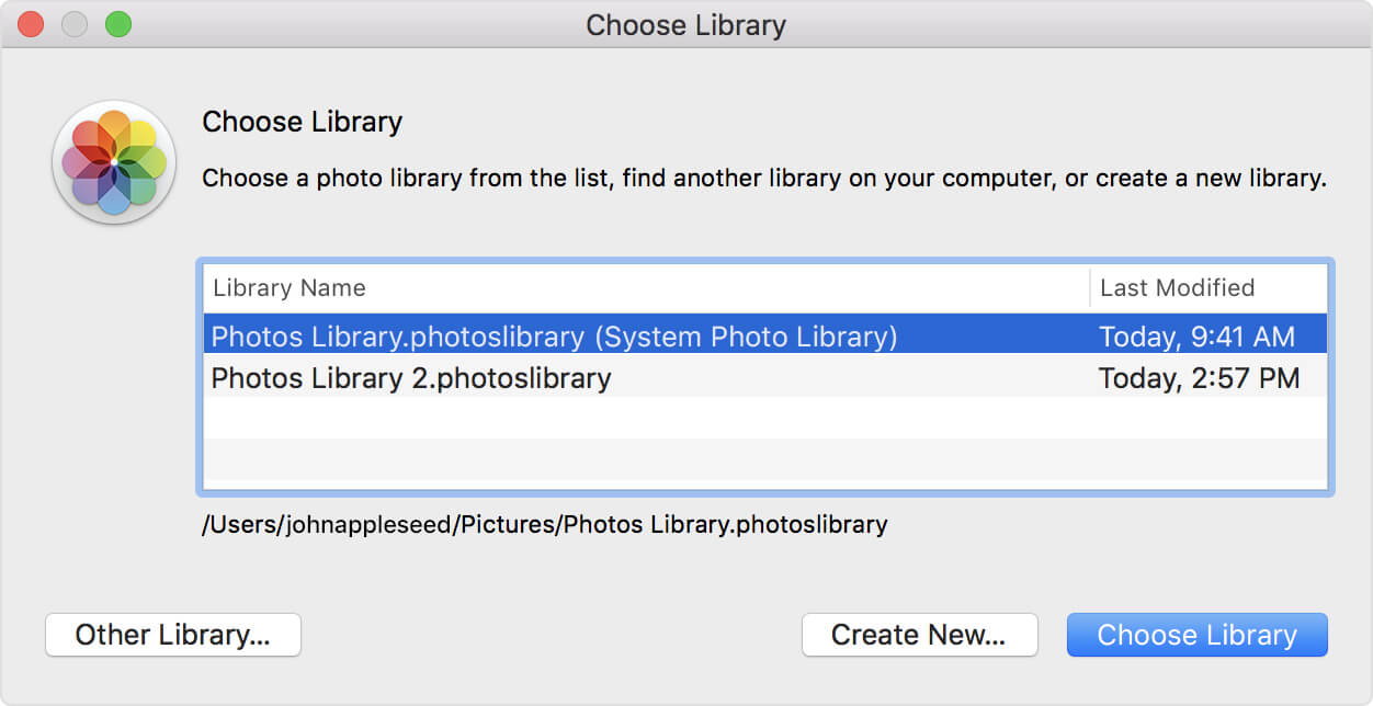 choose a Photos library