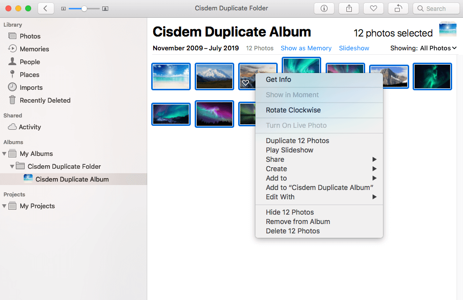 delete duplicate photos in the album