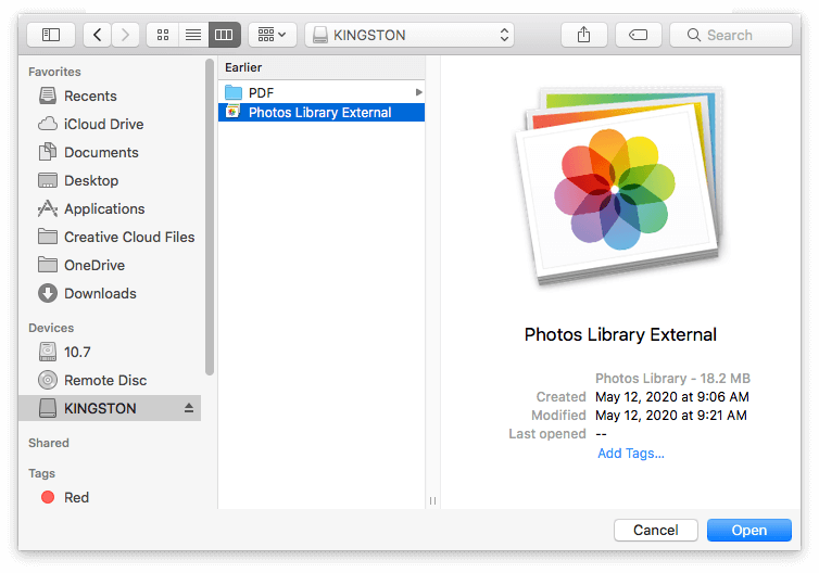 select external photos library