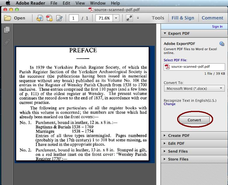 OCR in adobe reader mac