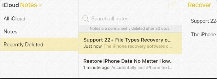 Mac Notes Disappeared Recovery- iCloud