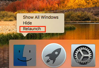 Relaunch Finder in Dock