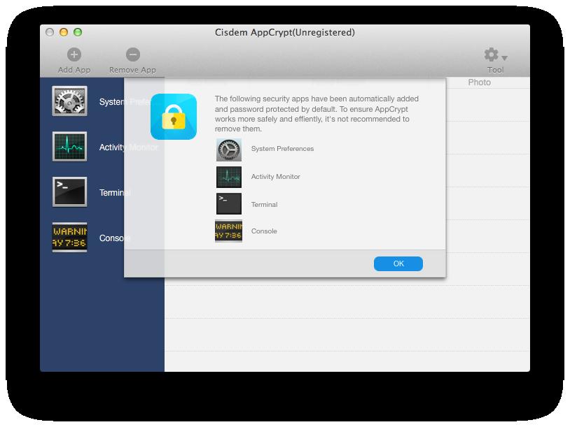 How to Password Protect Photos app on Mac via AppCrypt Step 2