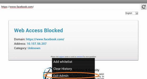 How to block specific websites on android mac iphone ipad and select more then click on exit admin in this way they wont have admin access and they can only browse the accessible sites ccuart Images