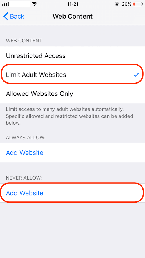 limit adult websites