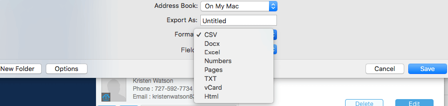 export Outlook contacts
