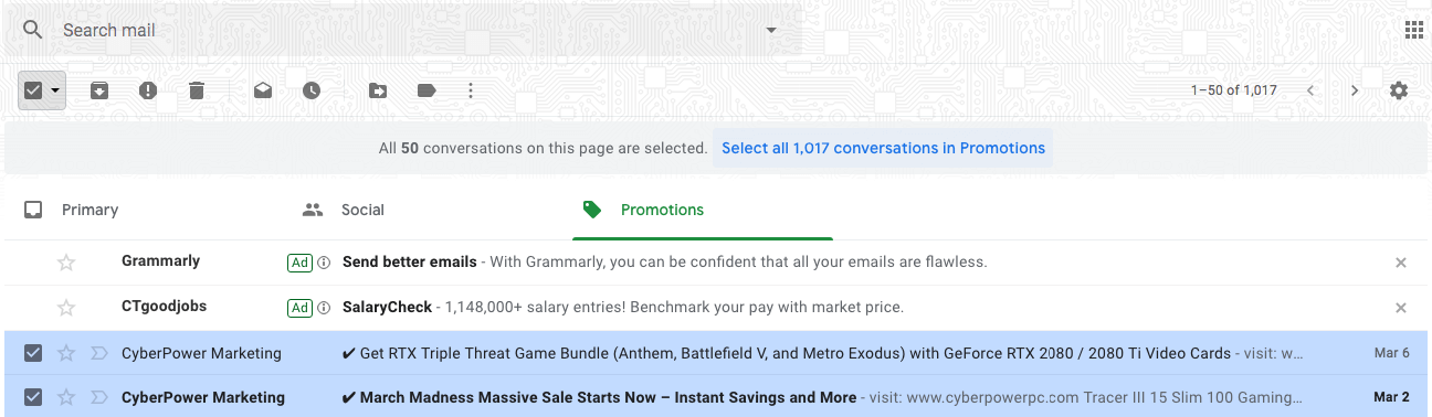 select and delete all promotions in Gmail