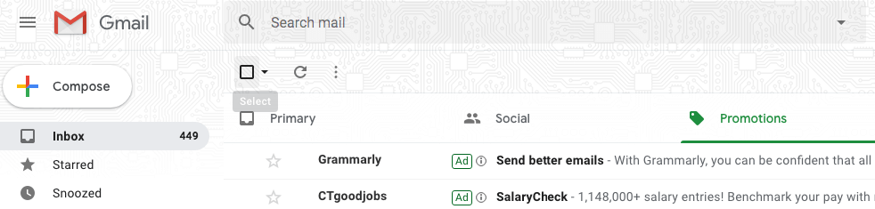 bulk select emails in Promotions tabs in Gmail