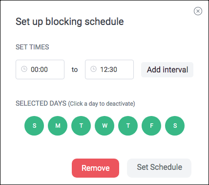 set up time limit schedule for youtube.com