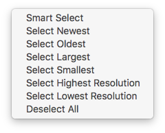 seven selection options to select and delete duplicate images on Mac