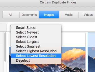 options to select unwanted similar photos for deletion