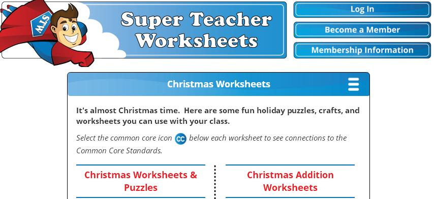Free PDF Printable Christmas Worksheets